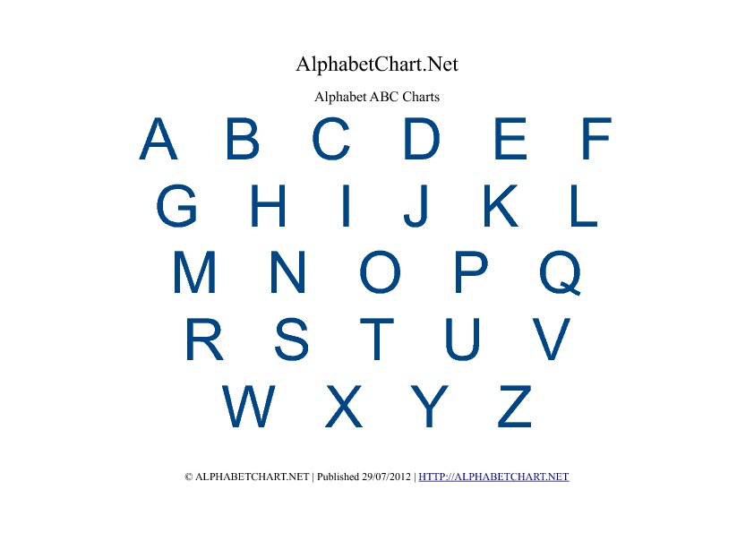 Uppercase Colored Alphabet Letter Charts in pdf