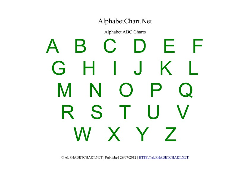Alphabet Chart Printables For Children. Download Free A4 Pdf