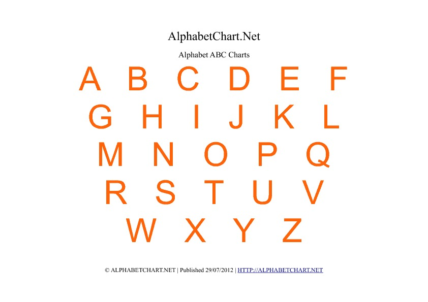 picture relating to Free Printable Abc Chart called No cost Printable Alphabet Charts in just 7 Colours Alphabet Chart Website