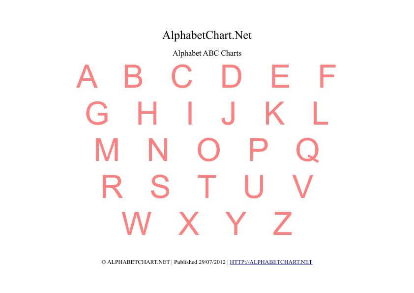 image about Abc Chart Printable Pdf identified as No cost Printable Alphabet Charts inside 7 Shades Alphabet Chart Website