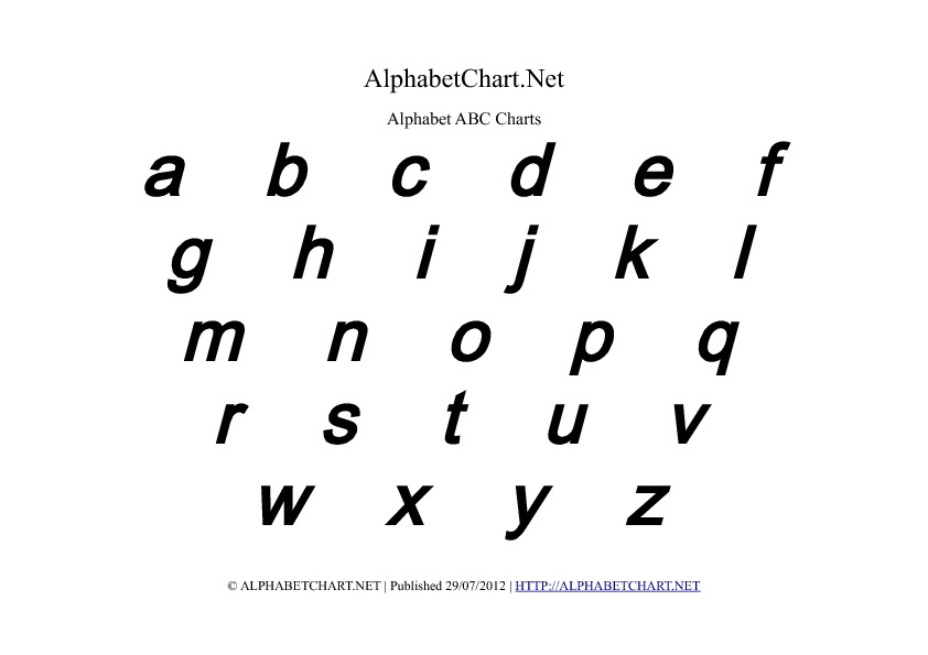 Lowercase Bold Italic Alphabet Letter Chart in pdf