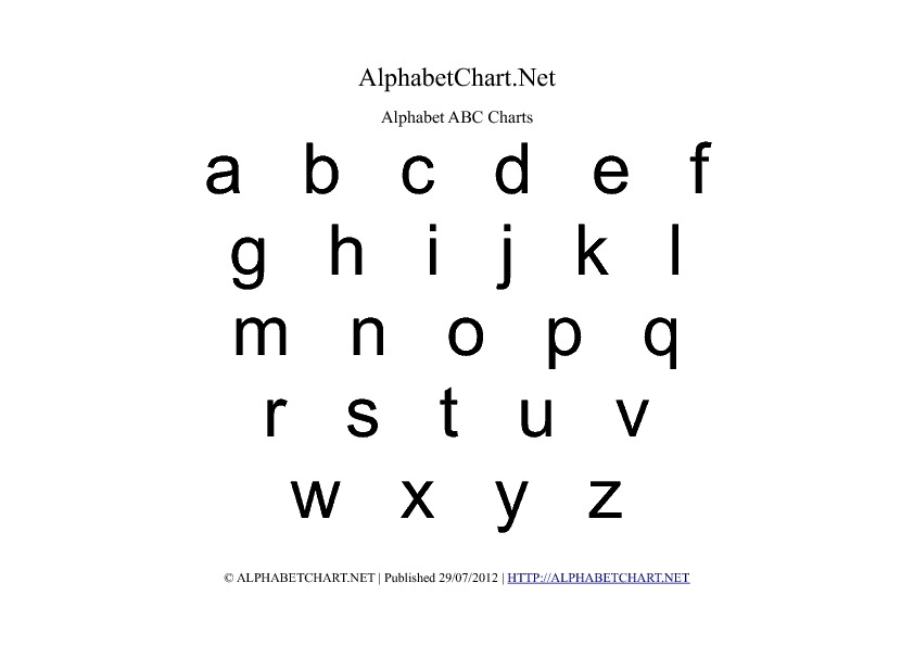 Lowercase Regular Alphabet Letter Chart in pdf