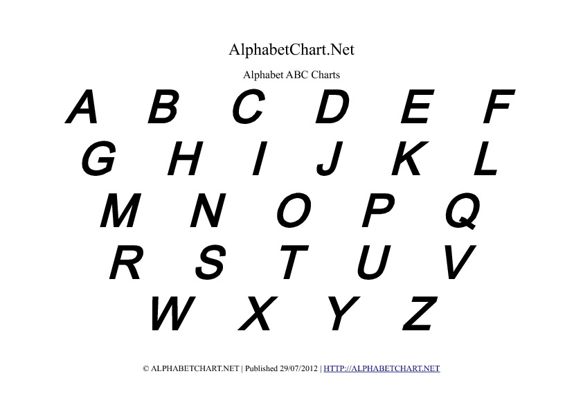 Uppercase Bold Italic Alphabet Letter Chart in pdf