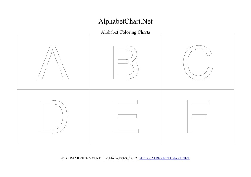 Alphabet letter coloring chart in pdf A to f