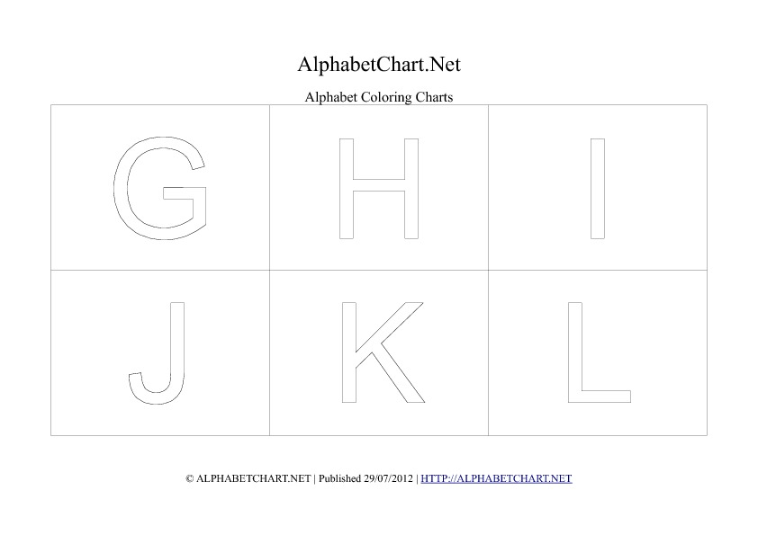Alphabet letter coloring chart in pdf G to L