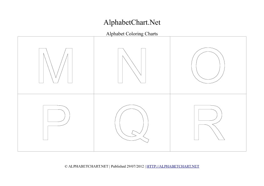 Alphabet letter coloring chart in pdf M to R