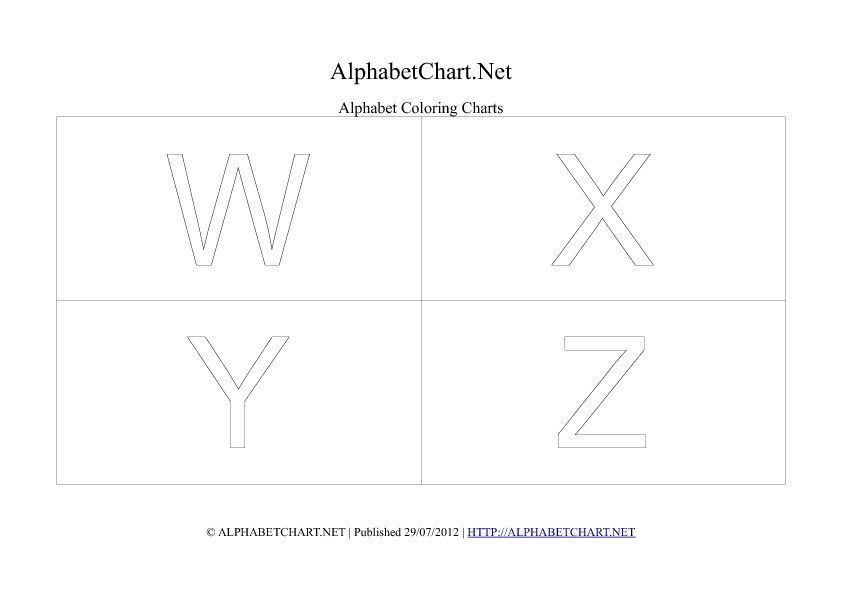 Alphabet letter coloring chart in pdf W to Z