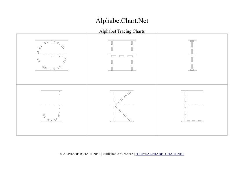 Alphabet letter tracing chart in pdf G to L