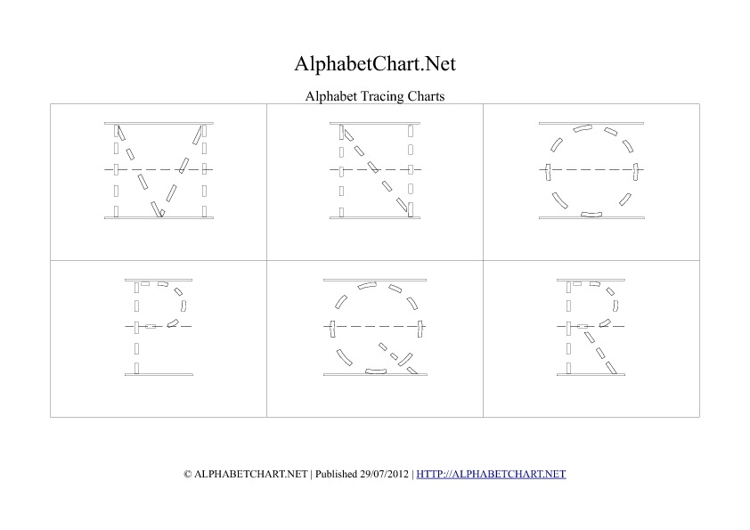 Alphabet letter tracing chart in pdf M to R