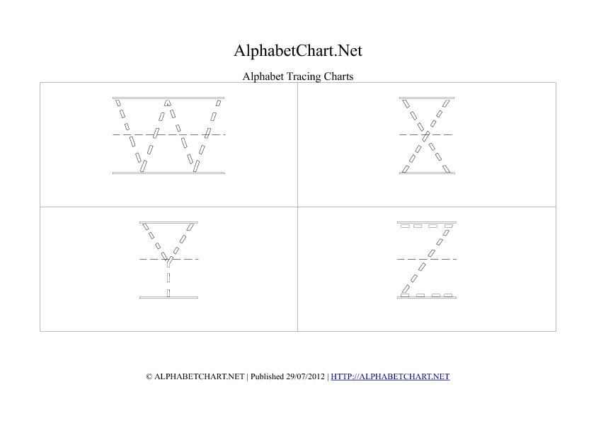 Alphabet letter tracing chart in pdf W to Z