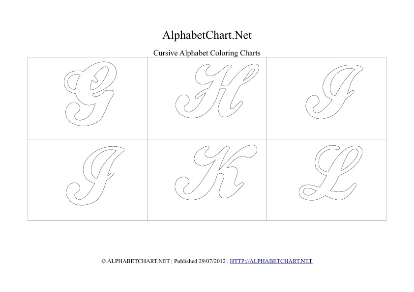 Cursive writing alphabet chart in pdf G to L