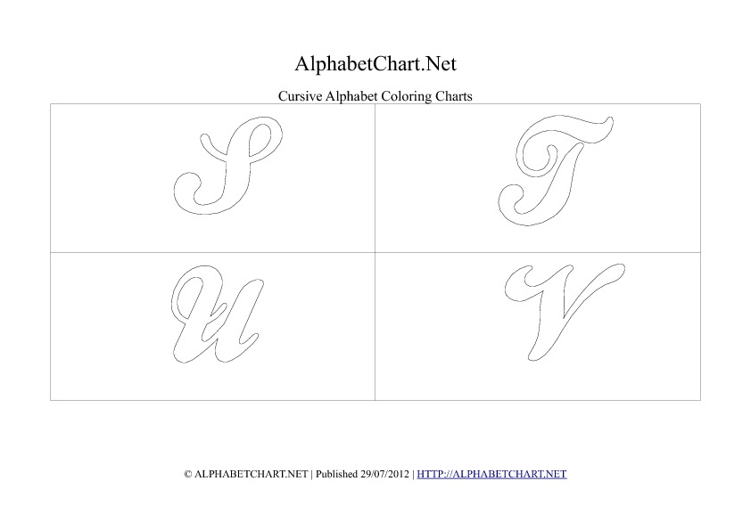 Cursive writing alphabet chart in pdf S to V