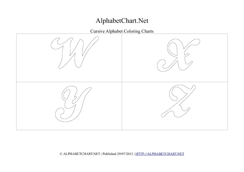 Cursive writing alphabet chart in pdf W to Z