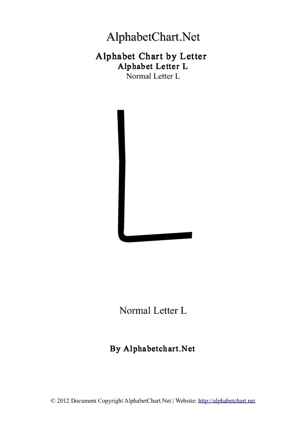 Alphabet L Letter Chart in pdf