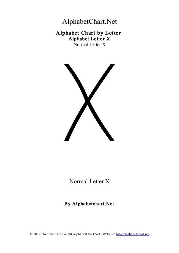 Alphabet X Letter Chart in pdf