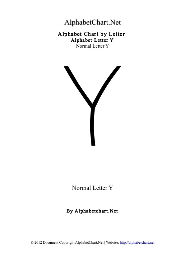 Alphabet Y Letter Chart in pdf