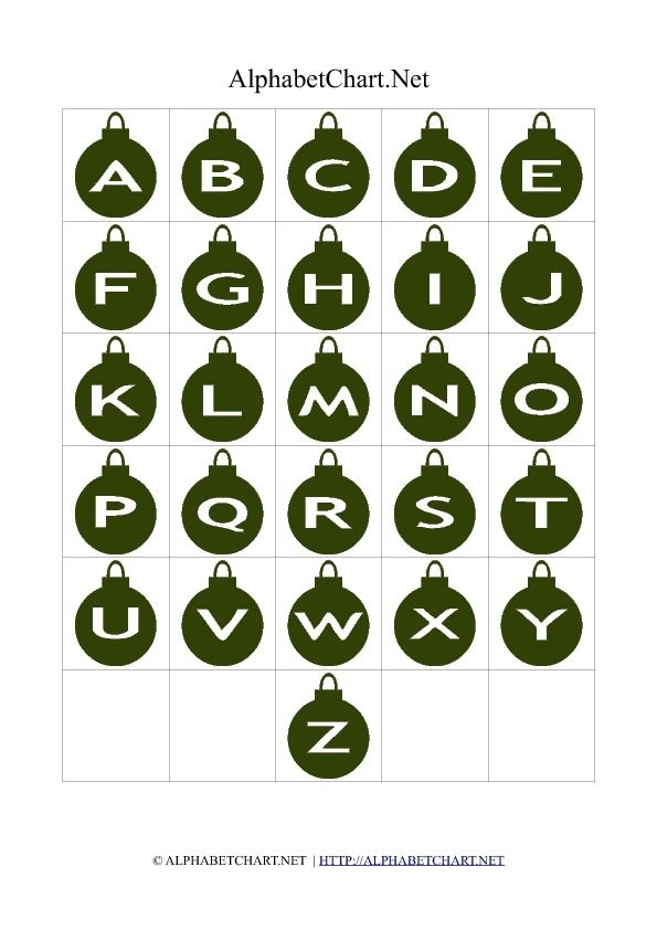 Bell Shaped Alphabet Letter Charts Green