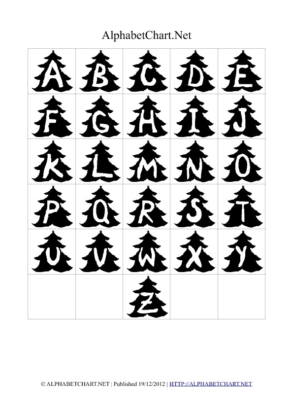 Christmas Tree Shaped Alphabet Letter Charts Black