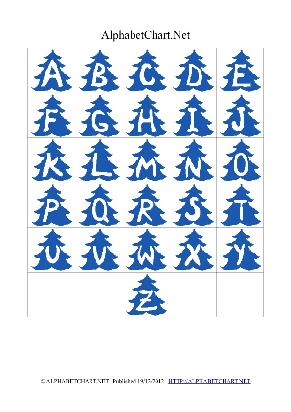 Christmas Tree Shaped Alphabet Letter Charts Blue