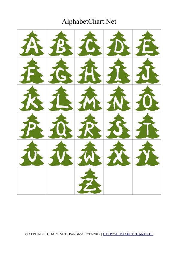 christmas tree shaped alphabet letter charts alphabet With christmas tree letters