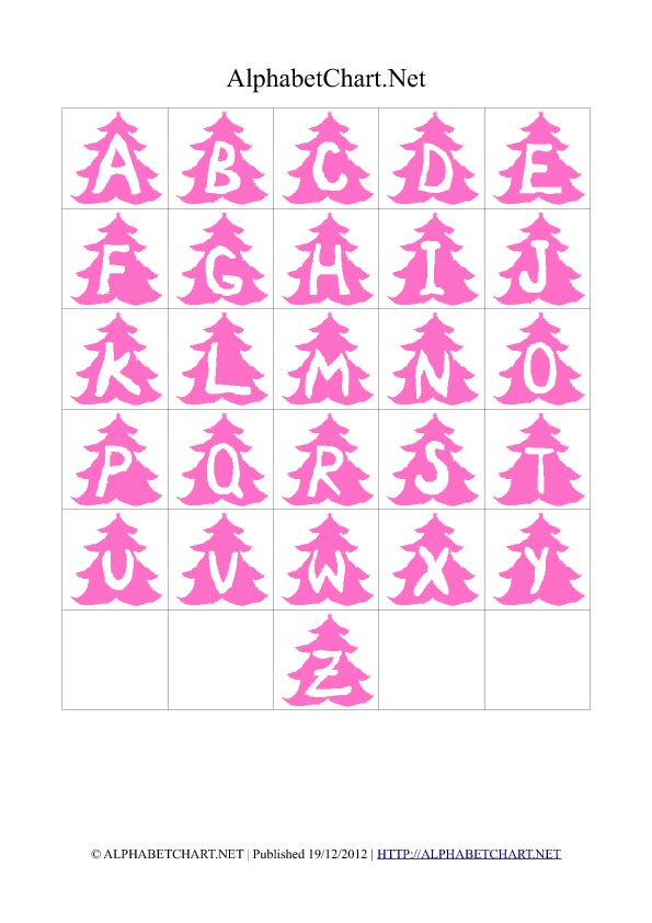 Christmas Tree Shaped Alphabet Letter Charts Pink