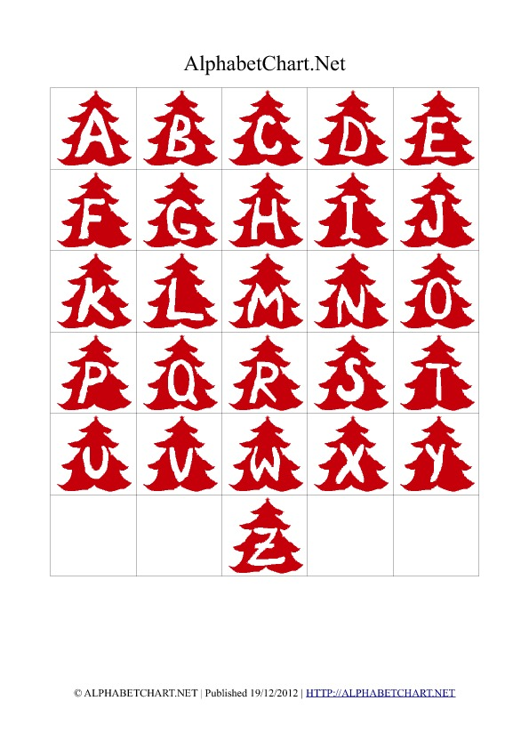 Christmas Tree Shaped Alphabet Letter Charts Red