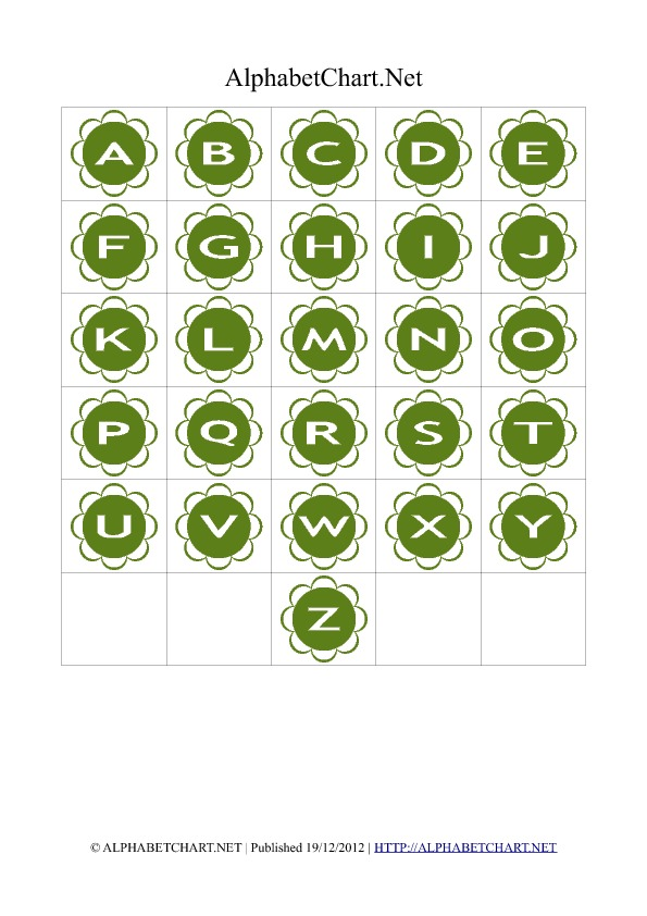 Flower Shaped Alphabet Letter Charts Green