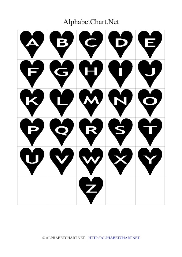 Heart Shaped Alphabet Letter Charts Black