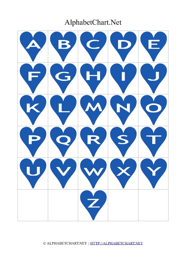 Heart Shaped Alphabet Letter Charts Blue