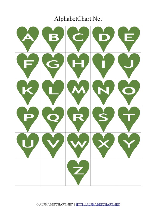 Heart Shaped Alphabet Letter Charts Green