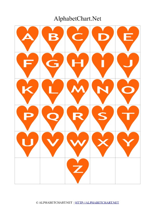 Heart Shaped Alphabet Letter Charts Orange