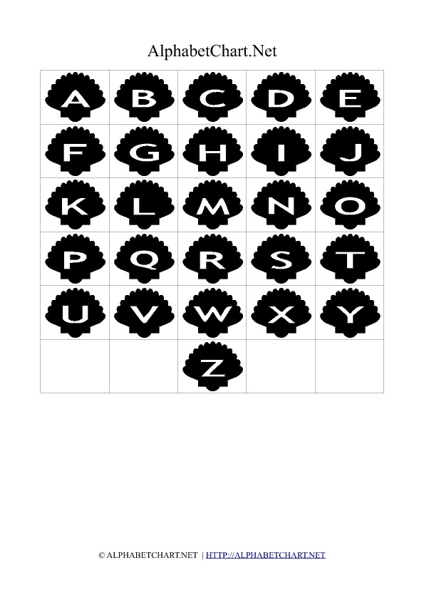 Shell Shaped Alphabet Letter Charts Black