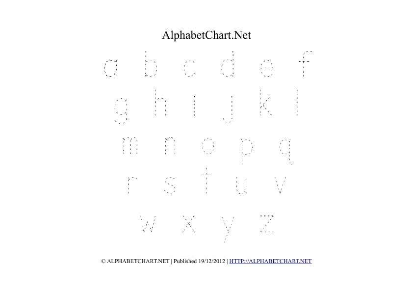 Lowercase Alphabet Tracing PDF Printable Chart