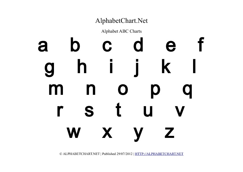 Lowercase Bold Alphabet Letter Chart in pdf
