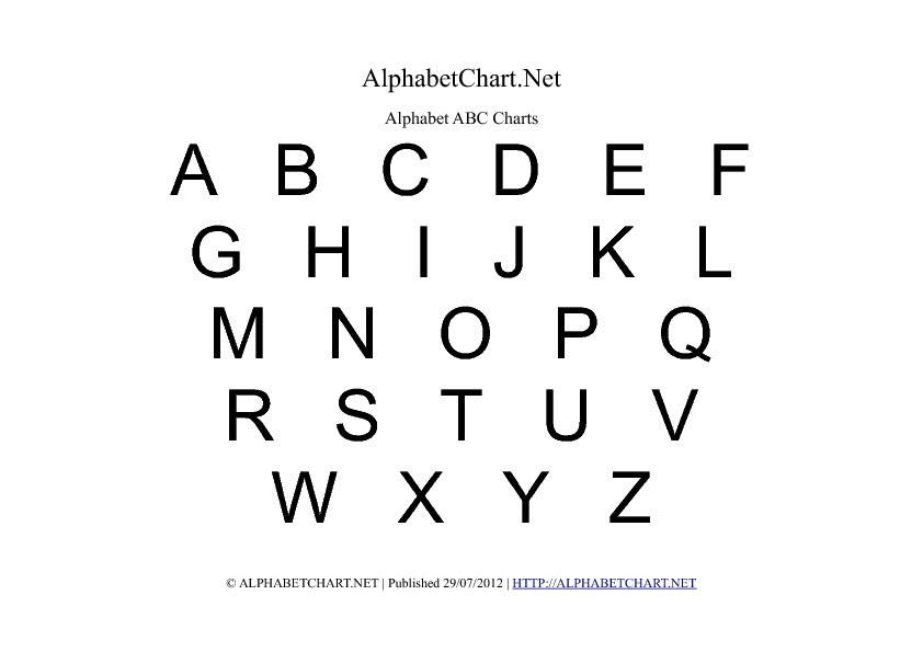 Uppercase Regular Alphabet Letter Chart in pdf