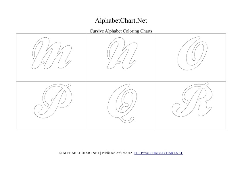 Cursive writing alphabet chart in pdf M to R