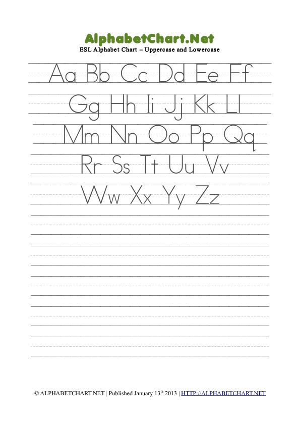 mixed case letter esl mixed alphabet pdf chart alphabet chart net 23671 | esl alphabet chart