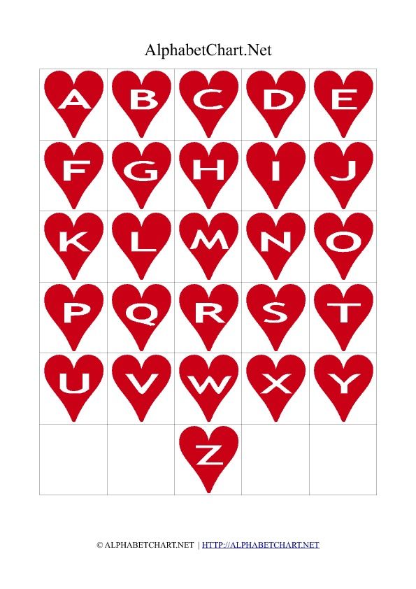 Heart Shaped Alphabet Letter Charts