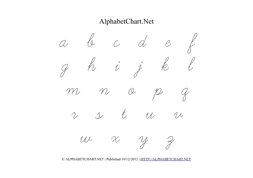 Cursive Lowercase Alphabet Tracing PDF Printable Chart