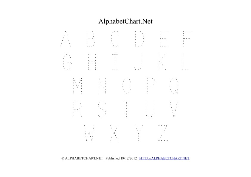 Uppercase Alphabet Tracing PDF Printable Chart